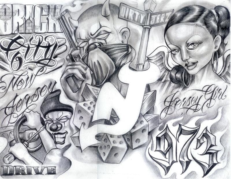 Gangster Tattoo Flash Art